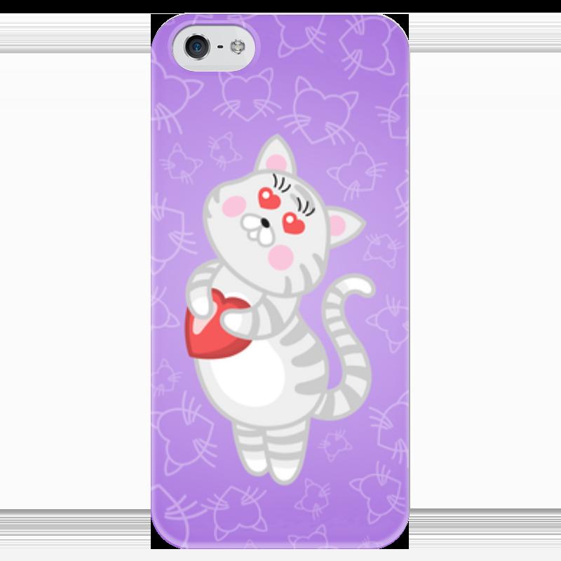 Чехол для iPhone 5 глянцевый, с полной запечаткой Printio Влюбленная кошечка чехол для iphone 5 printio чехол с мыслями о любви