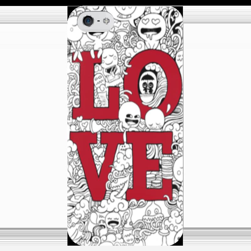 Чехол для iPhone 5 глянцевый, с полной запечаткой Printio Doodle love чехлы для телефонов with love moscow силиконовый дизайнерский чехол для meizu m3s перья