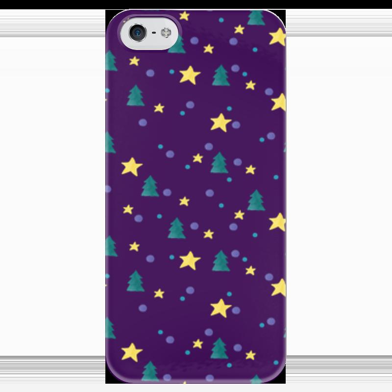 Чехол для iPhone 5 глянцевый, с полной запечаткой Printio Елки и звезды