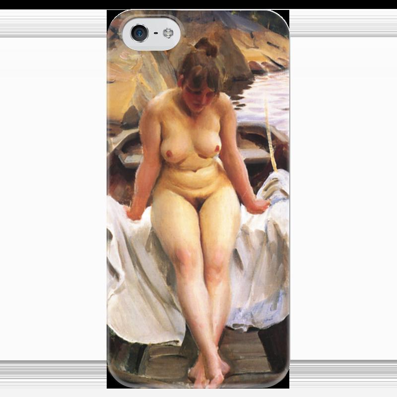 Чехол для iPhone 5 глянцевый, с полной запечаткой Printio Woman in the boat