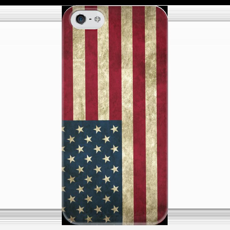 Чехол для iPhone 5 глянцевый, с полной запечаткой Printio Флаг сша где можно джинсы с принтом флага сша