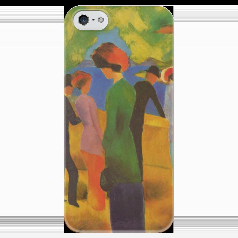 Чехол для iPhone 5 глянцевый, с полной запечаткой Printio Дама в зелёном жакете (август маке) чехол для iphone 4 глянцевый с полной запечаткой printio шляпный магазин август маке