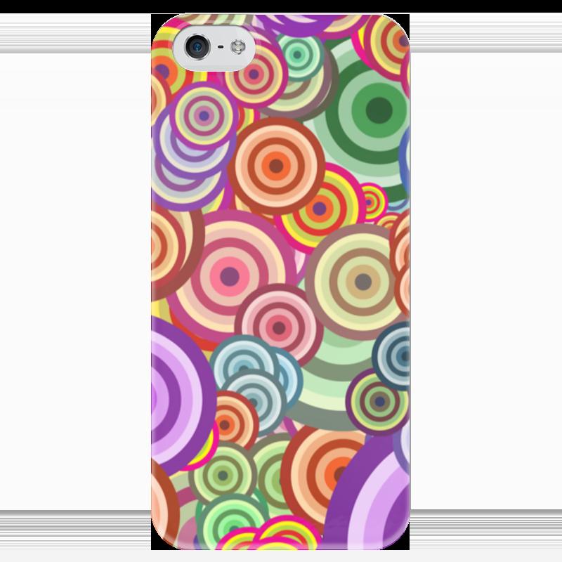 Чехол для iPhone 5 глянцевый, с полной запечаткой Printio Цветные круги