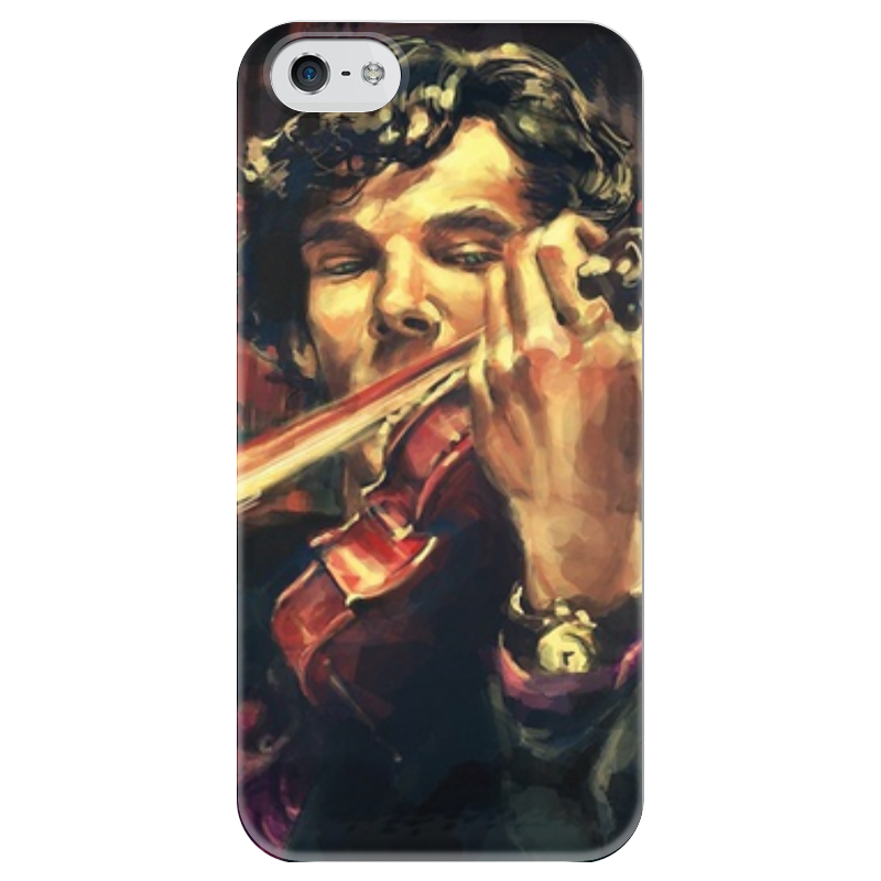 Чехол для iPhone 5 глянцевый, с полной запечаткой Printio Sherlock купить чехол на айфон 5 s disney