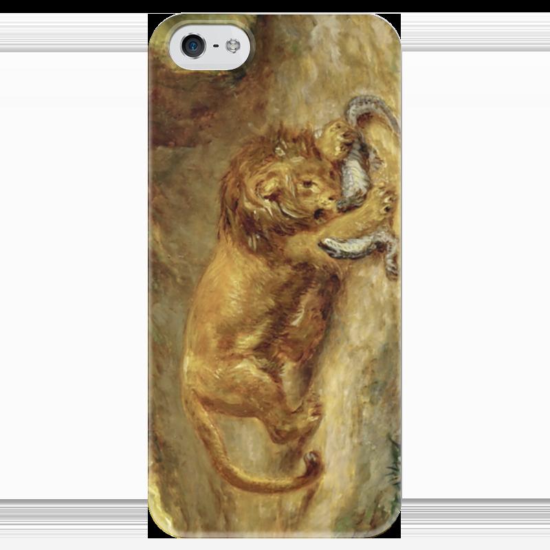 где купить Чехол для iPhone 5 глянцевый, с полной запечаткой Printio Лев и кайман по лучшей цене