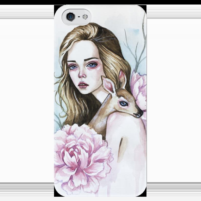 Чехол для iPhone 5 глянцевый, с полной запечаткой Printio Девушка с оленем чехол для iphone 4 глянцевый с полной запечаткой printio девушка
