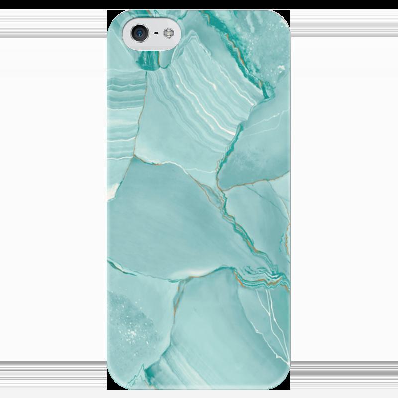 Чехол для iPhone 5 глянцевый, с полной запечаткой Printio Голубой мрамор.