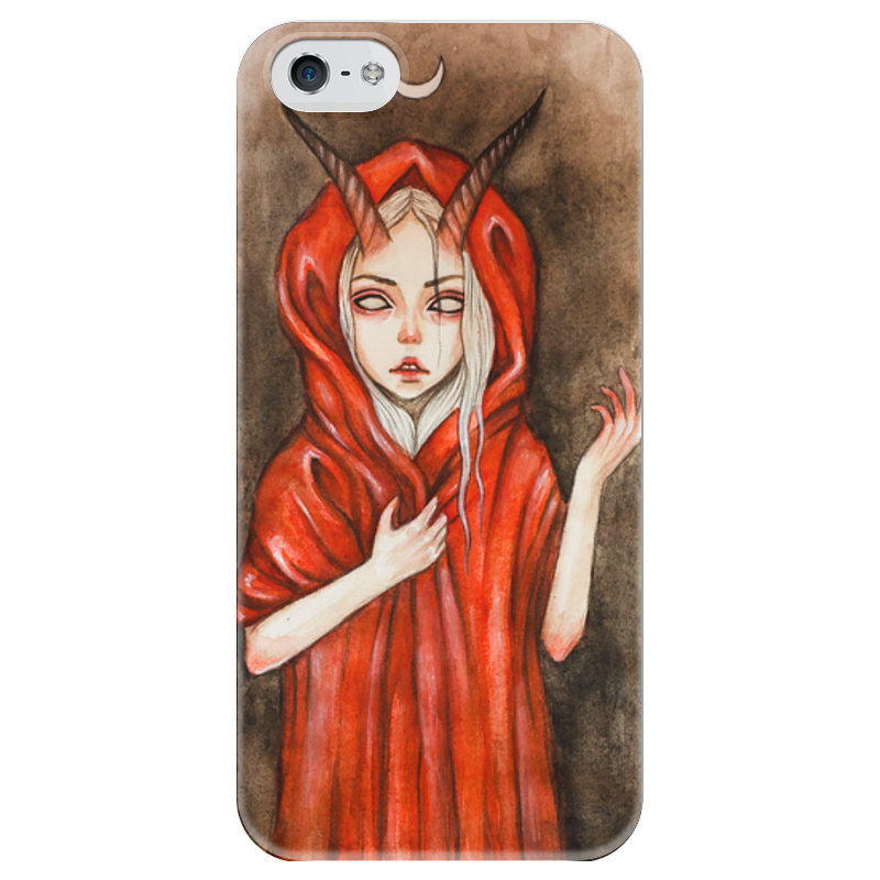Чехол для iPhone 5 глянцевый, с полной запечаткой Printio Дьявол