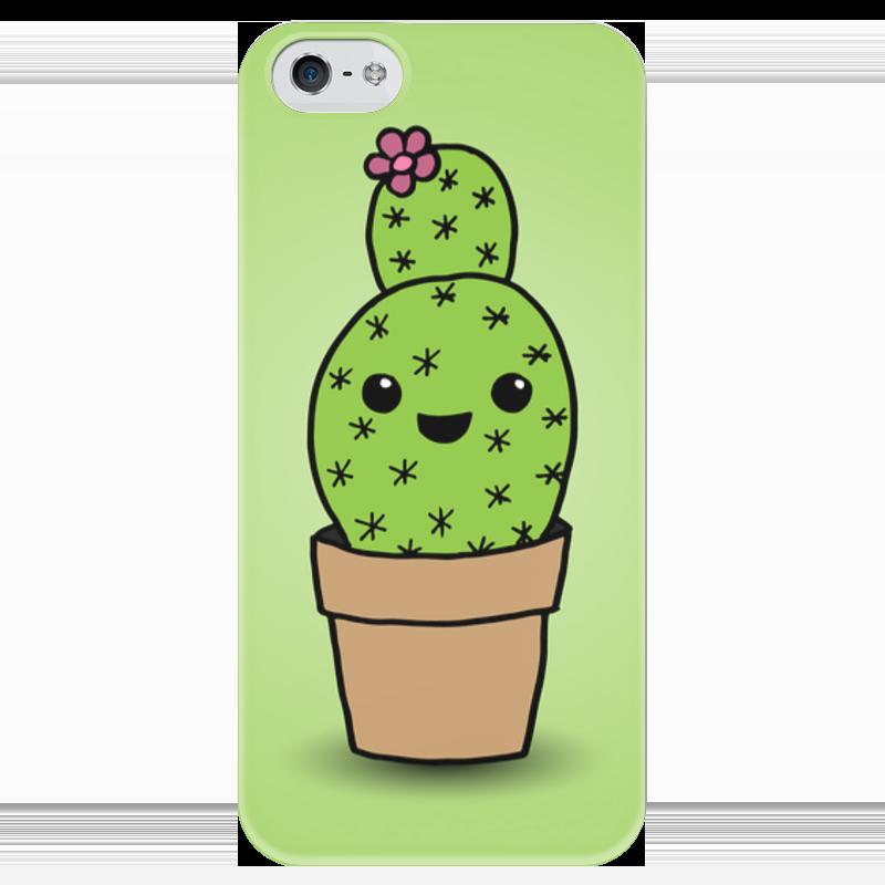Чехол для iPhone 5 глянцевый, с полной запечаткой Printio Милый кактус