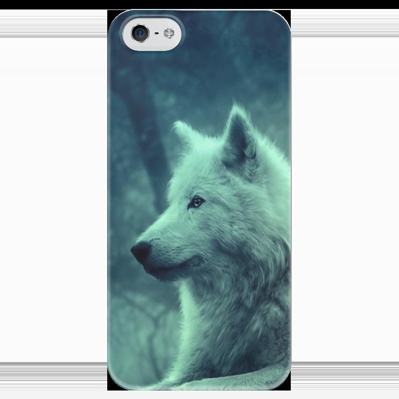 Чехол для iPhone 5 глянцевый, с полной запечаткой Printio North star - волк