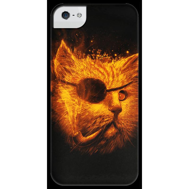 Чехол для iPhone 5 глянцевый, с полной запечаткой Printio Огненный кот
