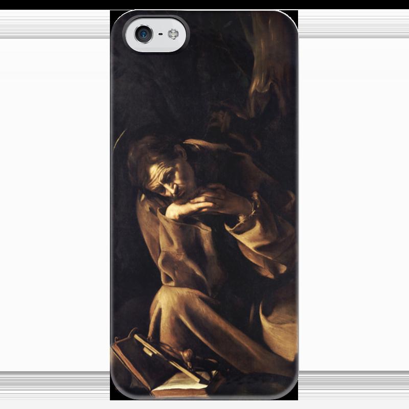 Чехол для iPhone 5 глянцевый, с полной запечаткой Printio Святой франциск в размышлении (караваджо) караваджо