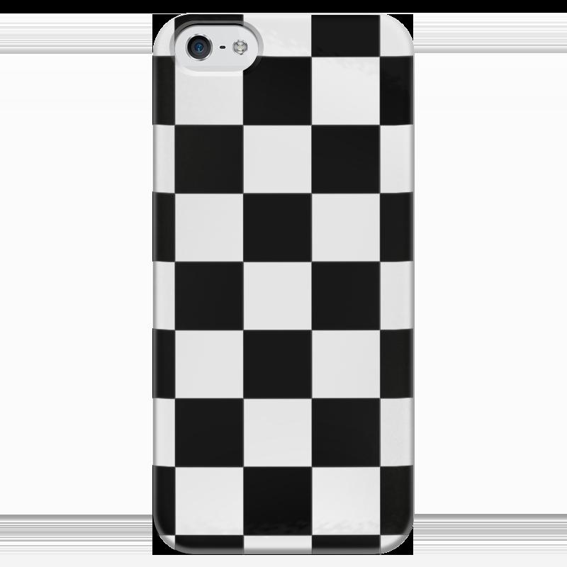 Чехол для iPhone 5 глянцевый, с полной запечаткой Printio Чёрно-белая клетка клетка для птиц ферпласт регина с комплектом белая