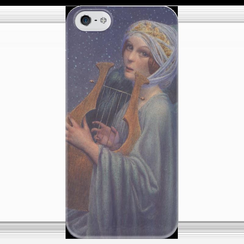 Чехол для iPhone 5 глянцевый, с полной запечаткой Printio Женщина с лирой