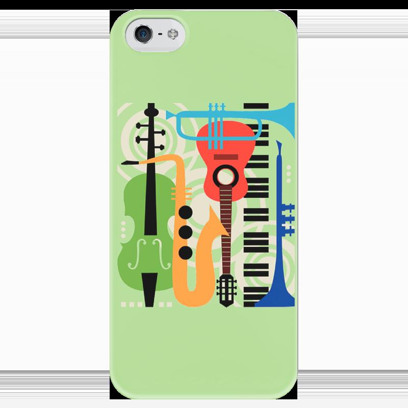 Чехол для iPhone 5 глянцевый, с полной запечаткой Printio Музыкальные инструменты женские часы philip watch