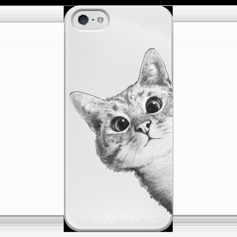 Чехол для iPhone 5 глянцевый, с полной запечаткой Printio Любопытный кот чехол для iphone 6 глянцевый printio кот бу