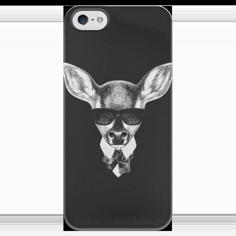 Чехол для iPhone 5 глянцевый, с полной запечаткой Printio Черно-белый кенгуру