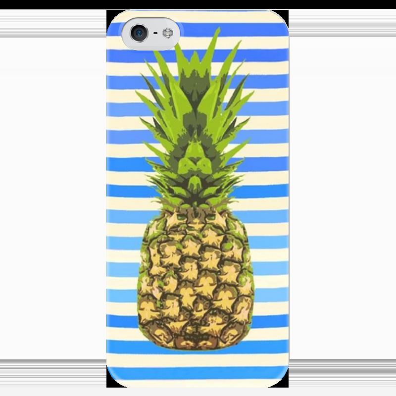 Чехол для iPhone 5 глянцевый, с полной запечаткой Printio Морской ананас чехол для карточек фламинго и ананас с усами дк2017 101