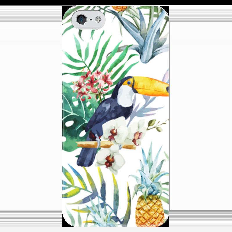Чехол для iPhone 5 глянцевый, с полной запечаткой Printio Тропические птицы