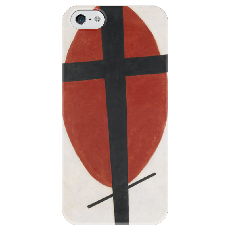 Чехол для iPhone 5 глянцевый, с полной запечаткой Printio Супрематизм (черный крест на красном овале) ожерелье овале