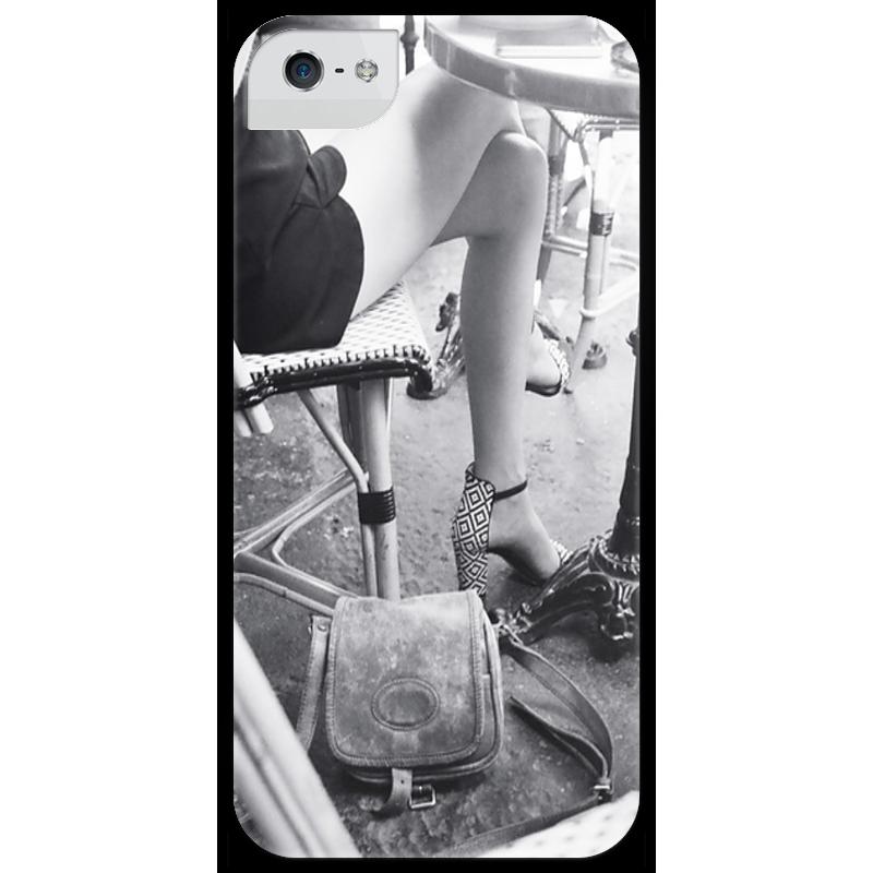 Чехол для iPhone 5 глянцевый, с полной запечаткой Printio Парижское кафе