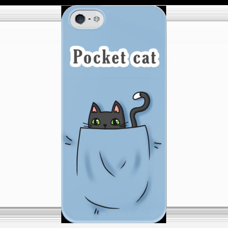 Чехол для iPhone 5 глянцевый, с полной запечаткой Printio Карманный кот карманный сонник