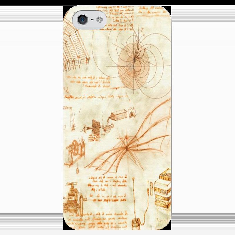 Чехол для iPhone 5 глянцевый, с полной запечаткой Printio Чертежи леонардо вешалка леонардо