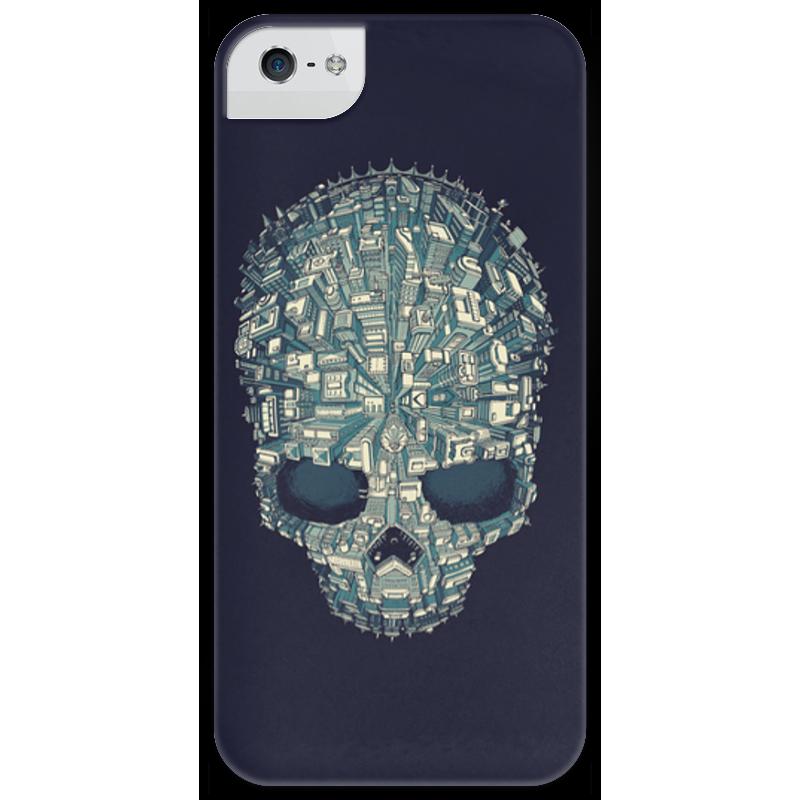 Чехол для iPhone 5 глянцевый, с полной запечаткой Printio Город-череп