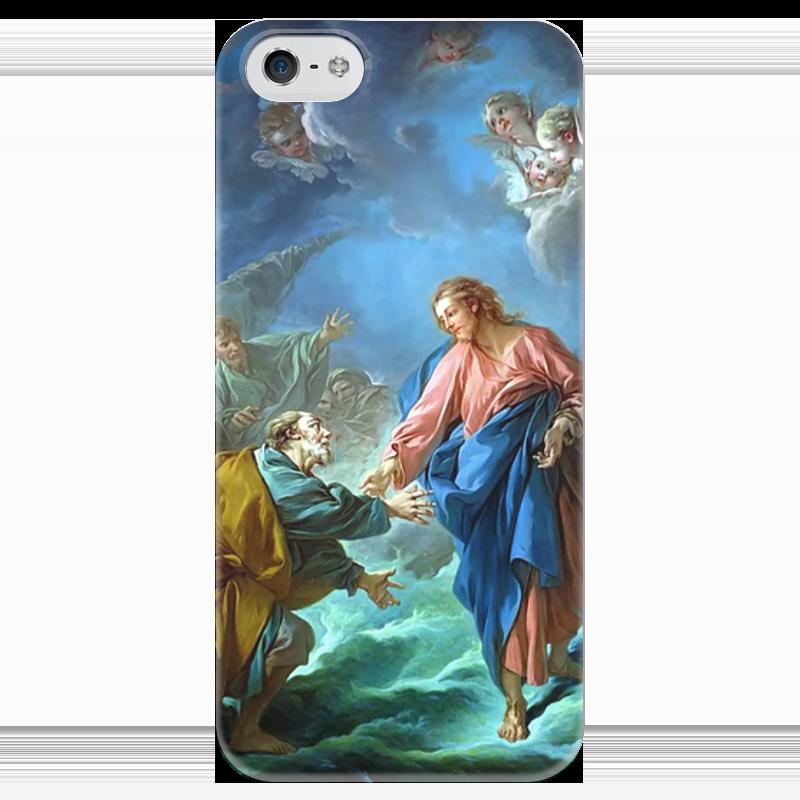 Чехол для iPhone 5 глянцевый, с полной запечаткой Printio Святой петр, пробующий идти по воде