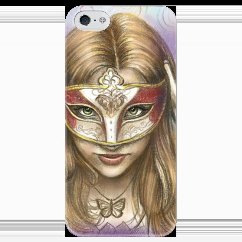 Чехол для iPhone 5 глянцевый, с полной запечаткой Printio Девушка в маске дьявол в маске