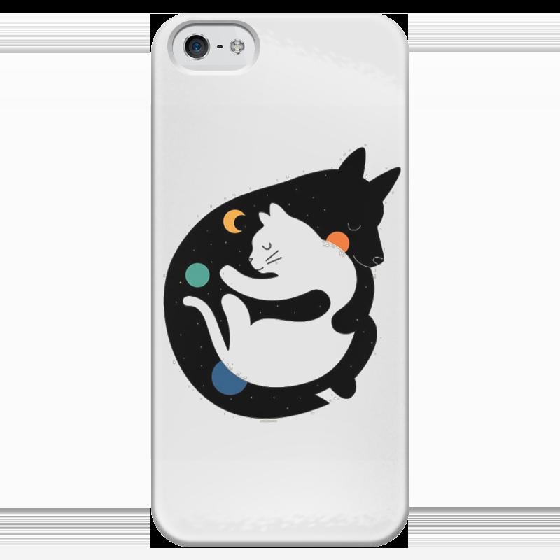 Чехол для iPhone 5 глянцевый, с полной запечаткой Printio Two kitties john schindel busy kitties