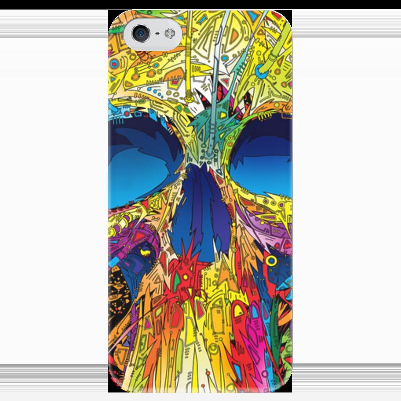 Чехол для iPhone 5 глянцевый, с полной запечаткой Printio Colorfull skull футболка с полной запечаткой женская printio colorfull triangle