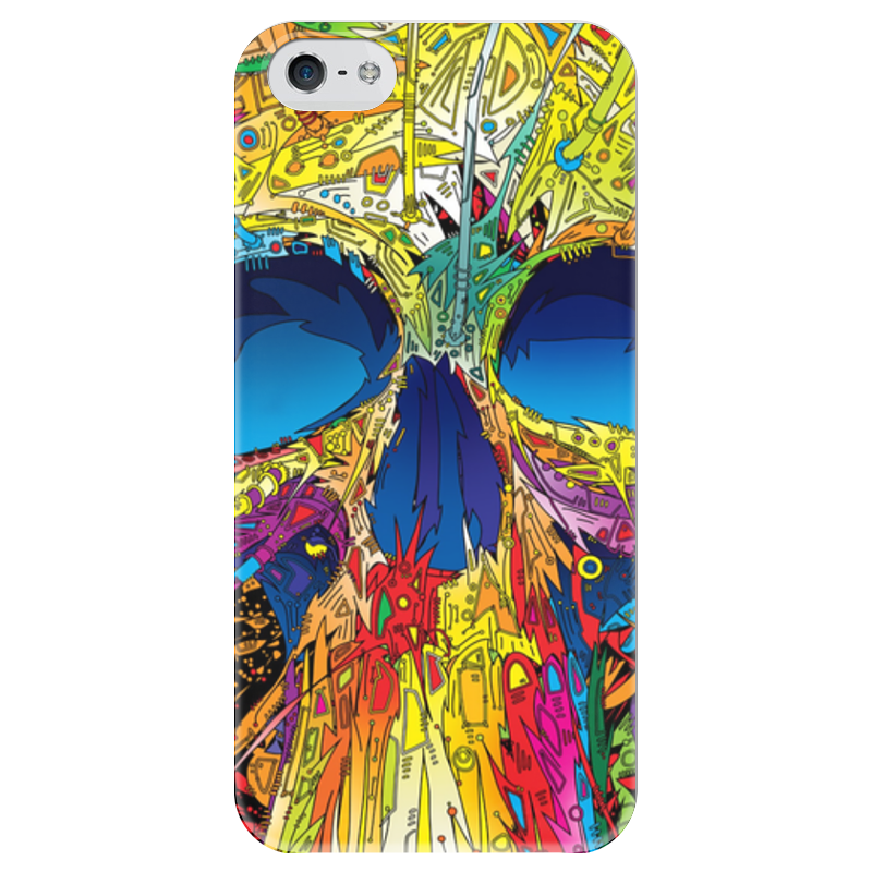 Чехол для iPhone 5 глянцевый, с полной запечаткой Printio Colorfull skull чехол для iphone 5 глянцевый с полной запечаткой printio red skull