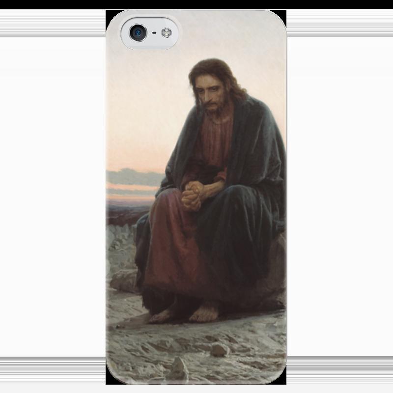 Чехол для iPhone 5 глянцевый, с полной запечаткой Printio Христос в пустыне (картина крамского) вышивка бисером молящийся христос