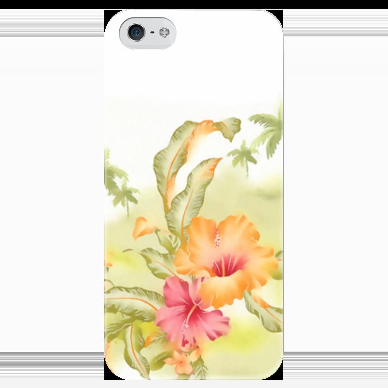 Чехол для iPhone 5 глянцевый, с полной запечаткой Printio Тропические цветы, пальмы.