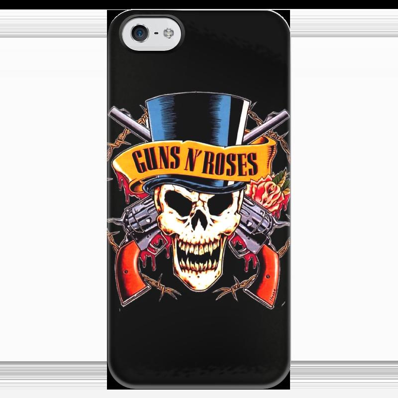 Чехол для iPhone 5 глянцевый, с полной запечаткой Printio Guns n' roses