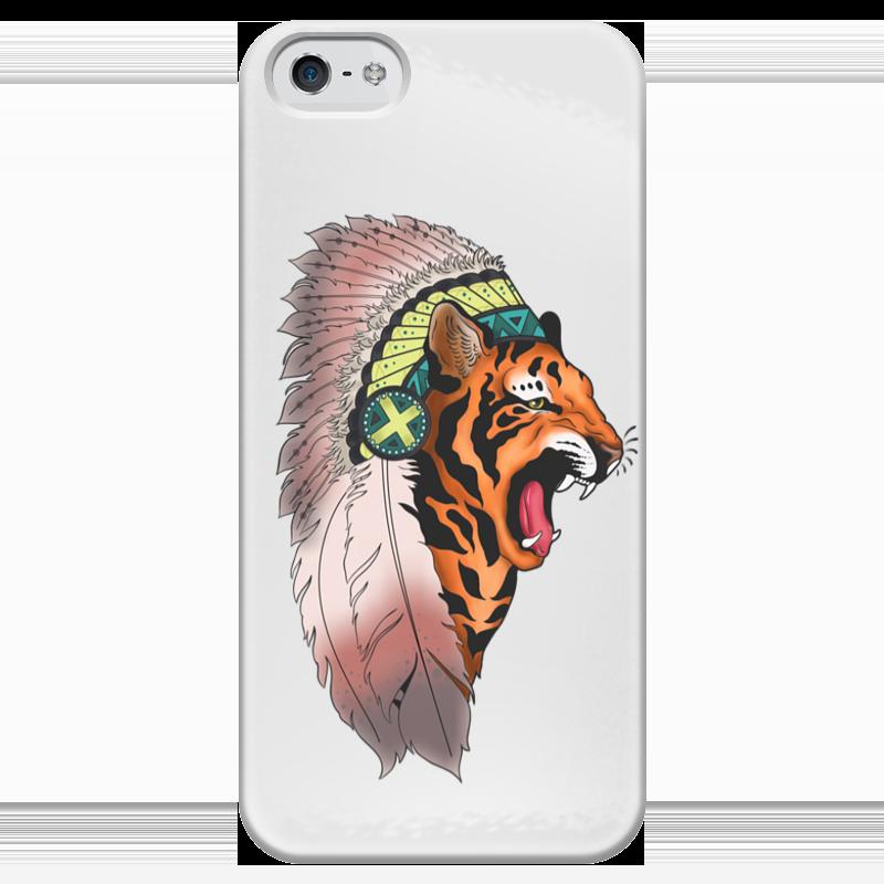 Чехол для iPhone 5 глянцевый, с полной запечаткой Printio Tiger чехол для iphone 5 глянцевый с полной запечаткой printio ember spirit dota 2