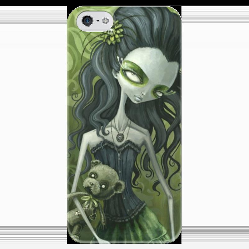 Чехол для iPhone 5 глянцевый, с полной запечаткой Printio Девушка с медведем (зомби) чехол для iphone 4 глянцевый с полной запечаткой printio девушка