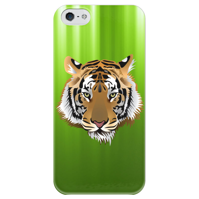Чехол для iPhone 5 глянцевый, с полной запечаткой Printio Взгляд тигра письмо для тигра