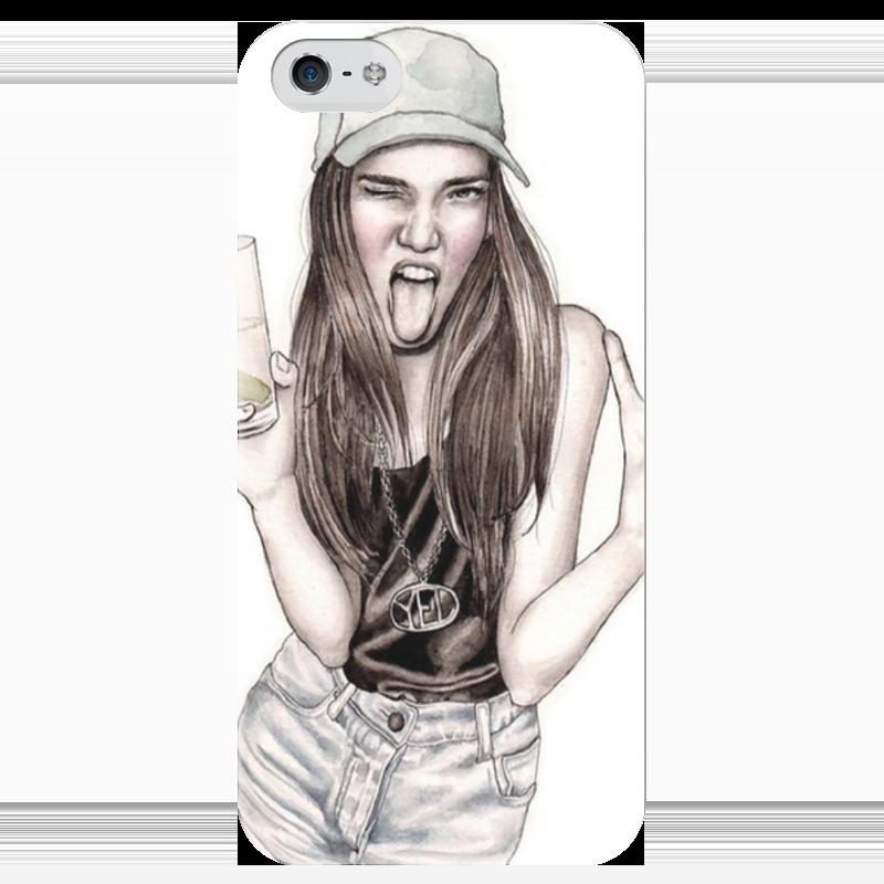 Чехол для iPhone 5 глянцевый, с полной запечаткой Printio Super_girl чехол для iphone 4 глянцевый с полной запечаткой printio бэтмен
