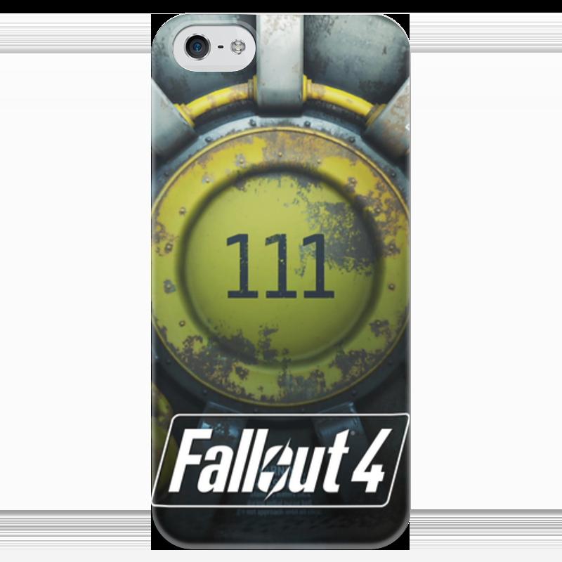 Чехол для iPhone 5 глянцевый, с полной запечаткой Printio Fallout 4 shelter 111