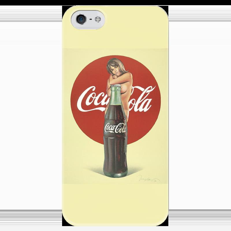 Чехол для iPhone 5 глянцевый, с полной запечаткой Printio Coca-cola