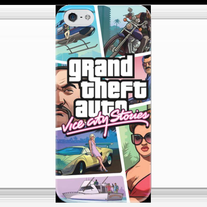 Чехол для iPhone 5 глянцевый, с полной запечаткой Printio Grand theft auto vice city stories