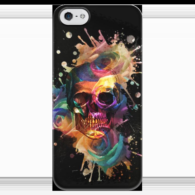 Чехол для iPhone 5 глянцевый, с полной запечаткой Printio Череп и розы чехол для iphone 4 глянцевый с полной запечаткой printio череп