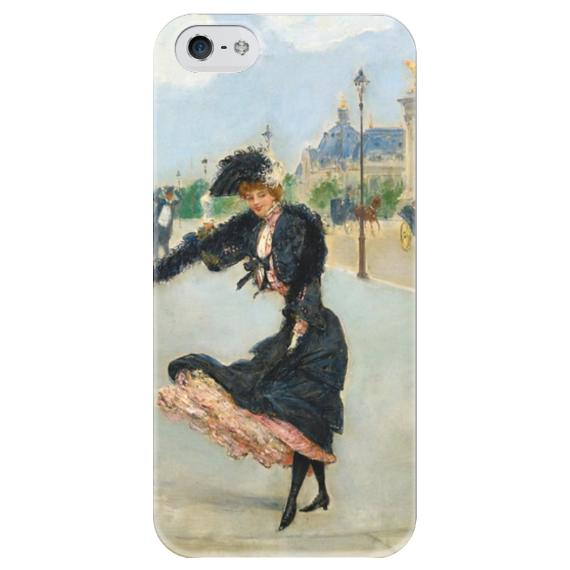 Чехол для iPhone 5 глянцевый, с полной запечаткой Printio Дама на мосту александра iii (жан беро) вышивка на аничковом мосту