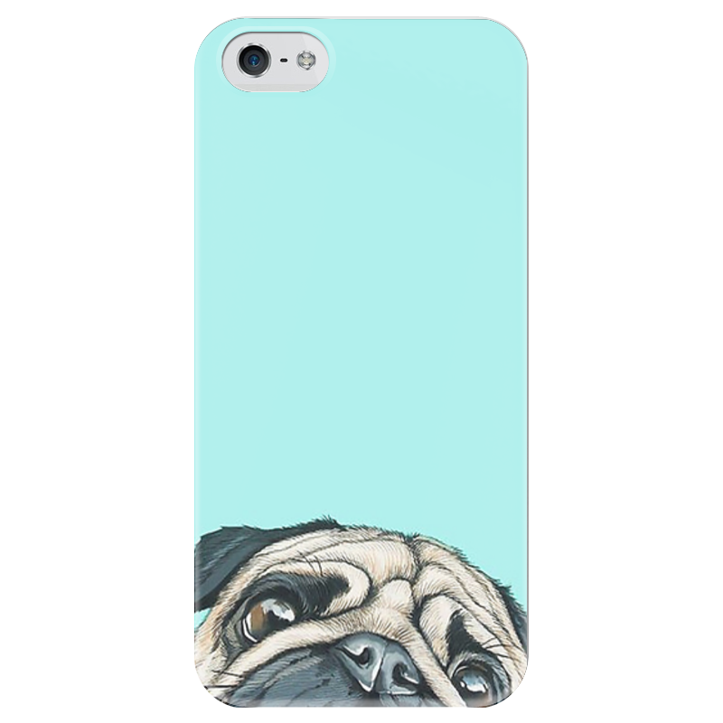 Чехол для iPhone 5 глянцевый, с полной запечаткой Printio Мопс мопс мопс