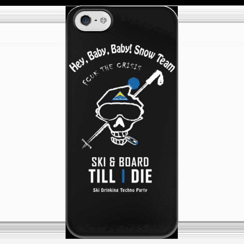 Чехол для iPhone 5 глянцевый, с полной запечаткой Printio Ski & snowboard