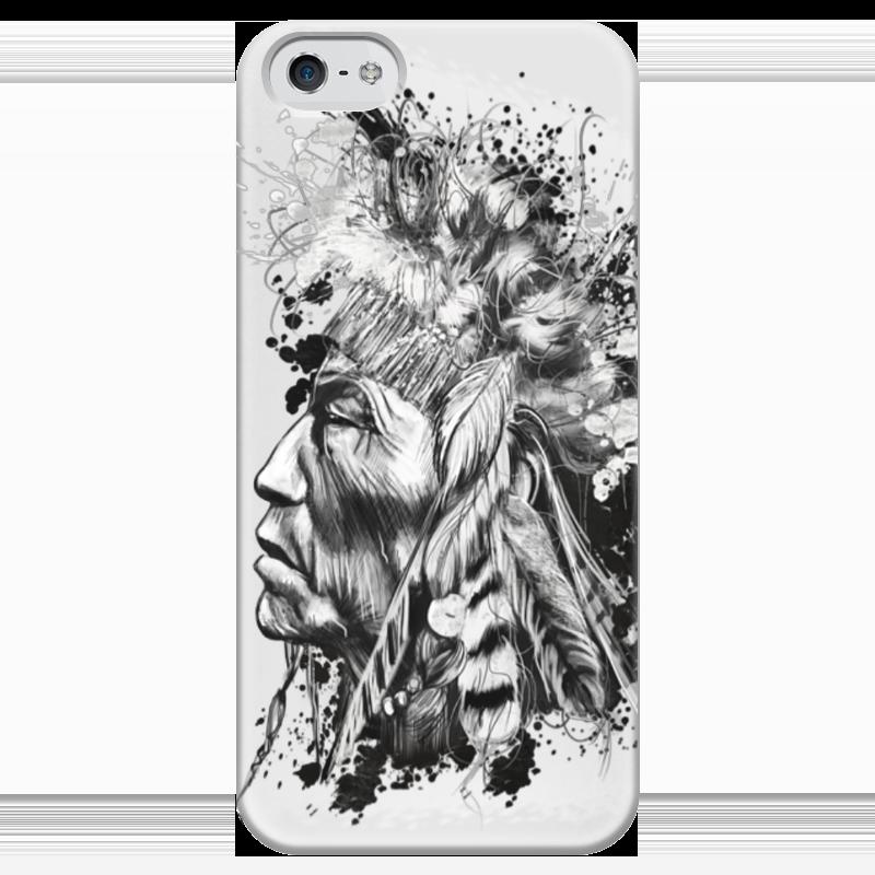 Чехол для iPhone 5 глянцевый, с полной запечаткой Printio Индеец чехол для iphone 5 глянцевый с полной запечаткой printio zayn malik
