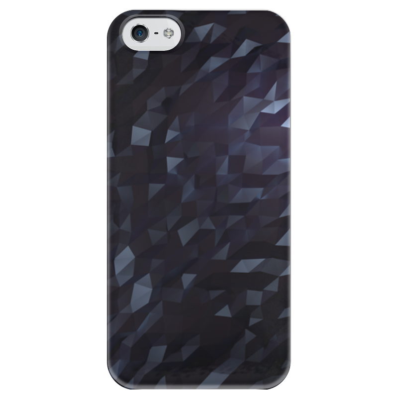 Чехол для iPhone 5 глянцевый, с полной запечаткой Printio Black lowpoly