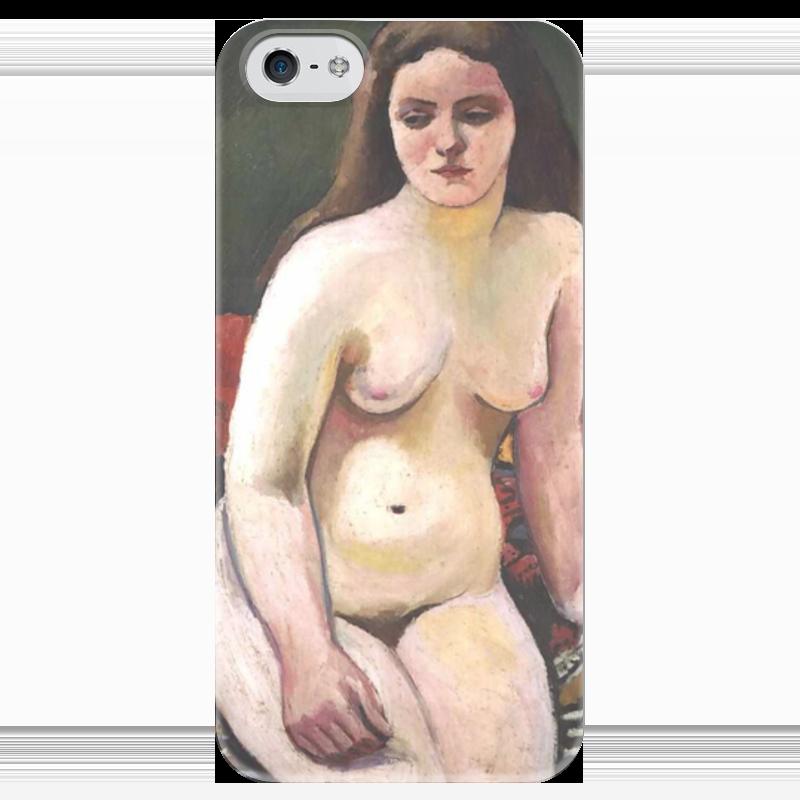 Чехол для iPhone 5 глянцевый, с полной запечаткой Printio Обнаженная на вязанном ковре (август маке) чехол для iphone 4 глянцевый с полной запечаткой printio шляпный магазин август маке
